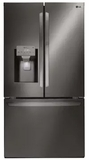 """LFXS28566D LG 36"""" French Door 27.7 Cu. Ft. 3-Door Refrigerator with Slim SpacePlus and SmartDiagnosis System - Black Stainless Steel"""