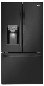 "LFXS28566M LG 36"" French Door 27.7 Cu. Ft. 3-Door Refrigerator with Slim SpacePlus and SmartDiagnosis System - Matte Black Stainless Steel"