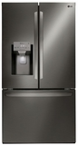 """LFXS28968D LG 36"""" French Door 28 cu. ft. Refrigerator with Slim SpacePlus Ice System and SmartThinQ - Smudge Resistant Black Stainless Steel"""