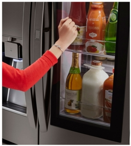 "LFXS30796D LG 36"" 29.6 cu. ft. Capacity French Door Refrigerator with InstaView Window and SpillProof Glass Shelving - Black Stainless Steel"