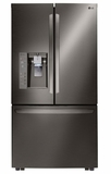 """LFXS32736D LG 36"""" Mega Capacity 32 cu.ft. French 3-Door Refrigerator with Touch Sensitive Controls and Door Alarm - Black Stainless Steel"""