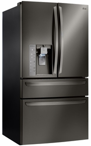 """LMXC23746D LG Black Stainless Steel Series 36"""" 23 Cu. Ft. Counter Depth 4 Door French Door Refrigerator with CusotmChill Drawer - Black Stainless Steel"""