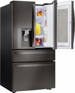 "LMXC23796D LG 36"" 22.7 cu. ft. Capacity Counter Depth French Door Refrigerator with InstaView Window and ColdSaver Panel - Black Stainless Steel"