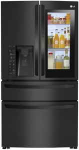 "LMXC23796M LG 36"" 22.7 cu. ft. Capacity Counter Depth French Door Refrigerator with InstaView Window and ColdSaver Panel - Black"
