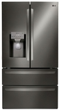 """LMXS28626D LG 36"""" 27.8 cu. ft. Capacity 4 Door French Door Refrigerator with Slim SpacePlus Ice System and SmartDiagnosis System - Smudge Resistant Black Stainless Steel"""