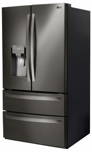 """LMXS28626D LG 36"""" 27.8 cu. ft. Capacity 4 Door French Door Refrigerator with Slim SpacePlus Ice System and SmartDiagnosis System - PrintProof Black Stainless Steel"""