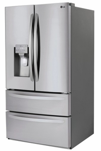 "LMXS28626S LG 36"" 27.8 cu. ft. Capacity 4 Door French Door Refrigerator with Slim SpacePlus Ice System and SmartDiagnosis System - PrintProof Stainless Steel"