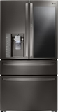 """LMXS30796D LG 36"""" 29.7 cu. ft. Capacity French Door Refrigerator with InstaView Window and ColdSaver Panel - Black Stainless Steel"""