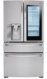 "LMXS30796S LG 36"" InstaView French Door-In-Door 29.7 cu. ft. Refrigerator with CustomChill Drawer and EasyReach Bins - Stainless Steel"