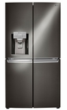 """LNXC23766D LG 36"""" 23 cu. ft. Capacity French 4 Door Refrigerator with SmartDiagnosis and Smart Cooling Plus System - Black Stainless Steel"""
