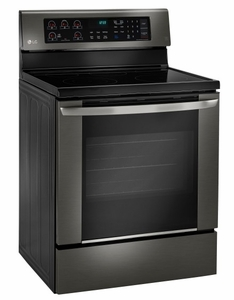 """LRE3061BD LG 30"""" Electric Range with 6.3 cu. ft. Single Oven and EasyClean - Black Stainless Steel"""