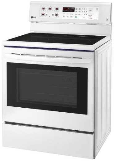 """LRE3193SW LG 30"""" 6.3 cu. ft. Free Standing Electric Range with True Convection and EasyClean - Smooth White"""