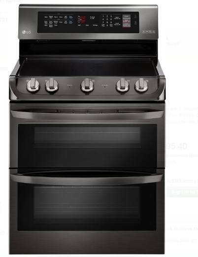 "LDE4415BD LG 30"" Electric Double Oven Range with ProBake Convection and 7.3 cu. ft. Capacity - Black Stainless Steel"