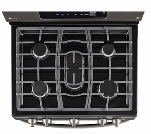 "LRG3061BD LG 30"" Gas Range with 5 Sealed Burners and Storage Drawer - Black Stainless Steel"