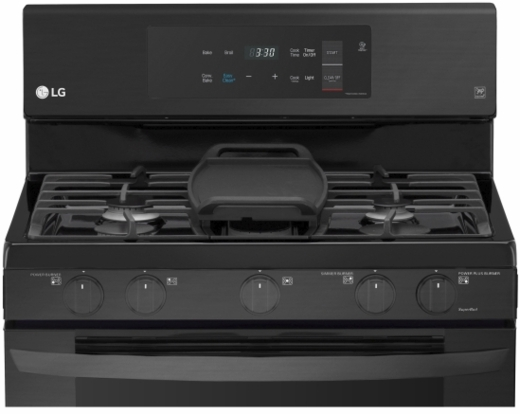 "LRG3193BM LG 30"" 5.4 Cu. Ft. Capacity Gas Single Oven Range with EvenJet Fan Convection and Easy Clean - Matte Black Stainless Steel"