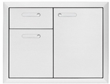 LSA304 Lynx 30 Inch Ventena Collection Storage Door and Double Drawer - Stainless Steel