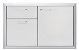 LSA364 Lynx 36 Inch Ventena Collection Storage Door and Double Drawer - Stainless Steel