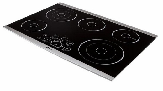 "LSCE305ST LG Studio 30"" Radiant Cooktop with Smoothtouch Controls - Black with Stainless Steel Trim"