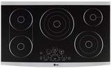 "LSCE365ST LG Studio 36"" Radiant Cooktop with Smoothtouch Controls - Black with Stainless Steel Trim"