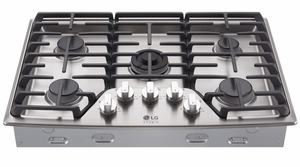 """LSCG307ST LG Studio 30"""" Pro Style Integrated Gas Cooktop with Dual Stacked UltraHeat - Stainless Steel"""