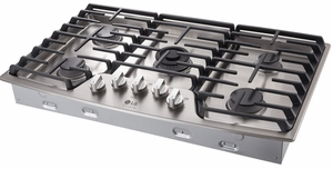 """LSCG367ST LG Studio 36"""" Pro Style Integrated Gas Cooktop with Dual Stacked UltraHeat - Stainless Steel"""