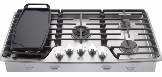 "LSCG367ST LG Studio 36"" Pro Style Integrated Gas Cooktop with Dual Stacked UltraHeat - Stainless Steel"