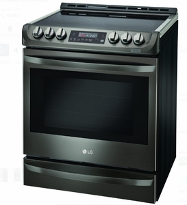 """LSE4613BD LG 30"""" 6.3 cu. ft. Electric Slide-In Range with ProBake Convection and Easy Clean - Black Stainless Steel"""