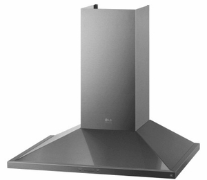 """LSHD3689BD LG Studio 36"""" Wall Mount Chimney Range Hood with 600 CFM and 5-Speed IR Touch Controls - Black Stainless Steel"""
