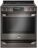 "LSSE3029BD LG Studio 30"" 6.3 cu. ft Gas Slide-in Range with ProBake Convection - Black Stainless Steel"