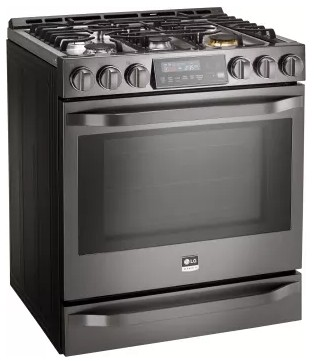"LSSG3019BD LG Studio 30"" 6.3 cu. ft Gas Slide-in Range with ProBake Convection - Black Stainless Steel"