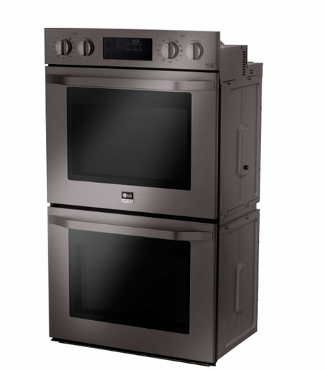 "LSWD309BD LG Studio 30"" Double Wall Oven with 9.4 cu. ft. Capacity with EasyClean and Smart ThinQ - Black Stainless Steel"