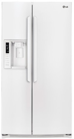 LSXS26326W LG 26 Cu. Ft. Ultra Large Capacity Side-by-Side Refrigerator with Spillprotector Shelves - White