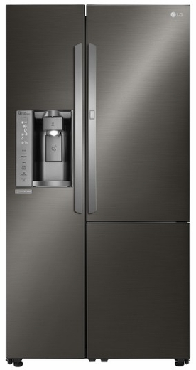 "LSXS26386D LG 36"" Ultra Capacity 26 Cu. Ft. Side-by-Side Refrigerator with Door-in-Door & Dispenser - Black Stainless Steel"