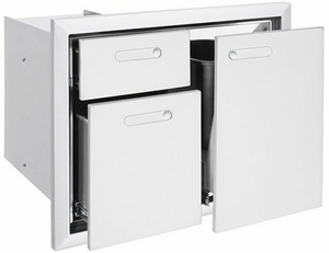 LTA304 Lynx 30 Inch Ventena Collection Trash Center and Double Drawer - Stainless Steel