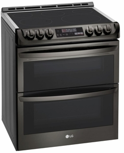 "LTE4815BD LG 30""  Wi-Fi Enabled Slide-In Electric Double Oven Range with Easy Clean and ProBake Convection - PrintProof Black Stainless Steel"