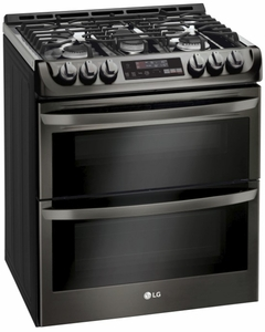 """LTG4715BD LG 30"""" 6.9 Cu. Ft. Wi-Fi Enabled Gas Double Oven Slide-In Range with ProBake Convection and EasyClean Technology - PrintProof Black Stainless Steel"""