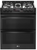 "LTG4715BM 30"" LG 6.9 Cu. Ft. Wi-Fi Enabled Gas Double Oven Slide-In Range with ProBake Convection and EasyClean Technology - PrintProof Matte Black Stainless Steel"