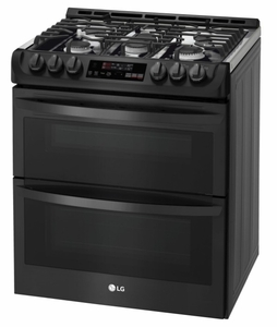 "LTG4715BM LG 30"" 6.9 Cu. Ft. Wi-Fi Enabled Gas Double Oven Slide-In Range with ProBake Convection and EasyClean Technology - PrintProof Matte Black Stainless Steel"