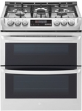 "LTG4715ST 30"" LG 6.9 Cu. Ft. Wi-Fi Enabled Gas Double Oven Slide-In Range with ProBake Convection and EasyClean Technology - Stainless Steel"