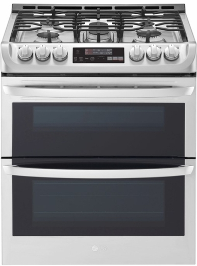 """LTG4715ST LG 30"""" 6.9 Cu. Ft. Wi-Fi Enabled Gas Double Oven Slide-In Range with ProBake Convection and EasyClean Technology - Stainless Steel"""