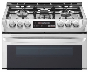"LTG4715ST LG 30"" 6.9 Cu. Ft. Wi-Fi Enabled Gas Double Oven Slide-In Range with ProBake Convection and EasyClean Technology - Stainless Steel"