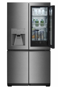 "LUPXS3186N LG Signature 36"" 4 Door French Door Refrigerator with LUMIShelf Lighting and Instaview Window - Textured Steel"
