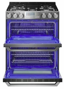"""LUTG4519SN 30"""" LG Signature Slide-In Gas Range with ProBake Convection and EasyClean Technology - Textured Steel"""
