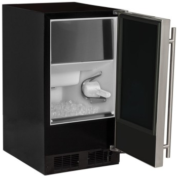 """MA15CLS1RS Marvel  15"""" Built-In Ice Maker with White LED Arctic Illuminice Lighting and Easy-to-Clean Hygienic Interior - Right Hinge - Stainless Steel"""