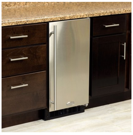 """MA15CPS1LS Marvel 15"""" Built-In Ice Maker with 39 Lbs. Daily Ice Production and White LED Arctic Illuminice Lighting - Left Hinge - Stainless Steel"""