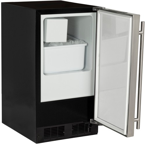 MA15CRS1LS Marvel Low Profile Crescent ADA Ice Machine with Up To 15 Lbs of Ice Per Day - Left Hinge - Stainless Steel