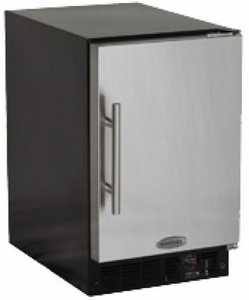 "MA15CRSCLS Marvel 15"" Left Hinge Compact Crescent Ice Machine ADA Height with 15lbs of Ice Storage and Close Door Assist System - Stainless Steel"