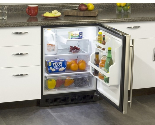 MA24RAS1LS Marvel Low Profile All Refrigerator ADA Refrigerator with MaxStore Crisper - Left Hinge - Stainless Steel
