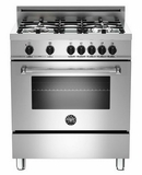 """MAS304DFMXE Bertazzoni Master Series 30"""" Dual Fuel 4 Burner Range with Gas Range Top and Electric Oven - Stainless Steel"""