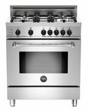 """MAS304DFSXT Bertazzoni Master Series 30"""" Dual Fuel 4 Burner Range with Gas Range Top and Electric Self-Clean Oven - Stainless Steel"""